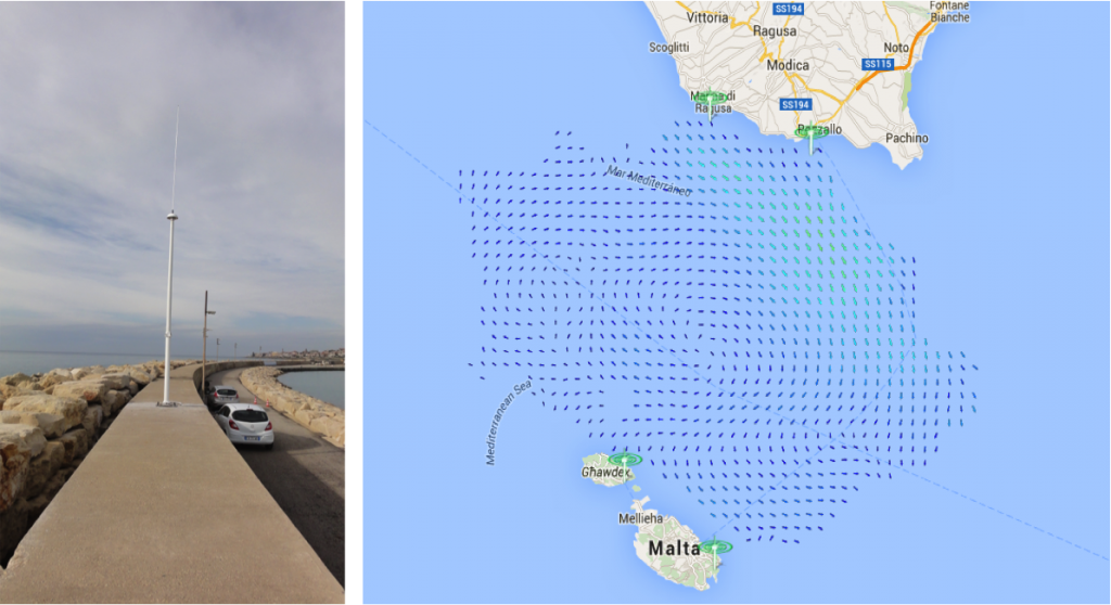 New SeaSonde installation in Marina di Ragusa and surface currents map